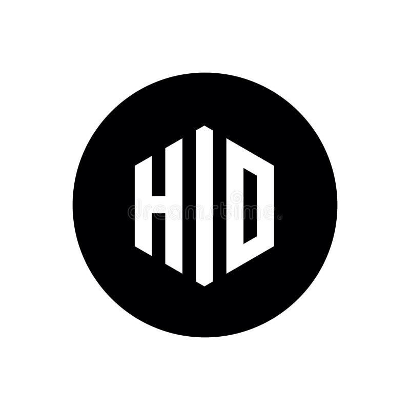 Letra inicial HIO ou logotipo ESCONDIDO, ícone minimalista simples ilustração stock