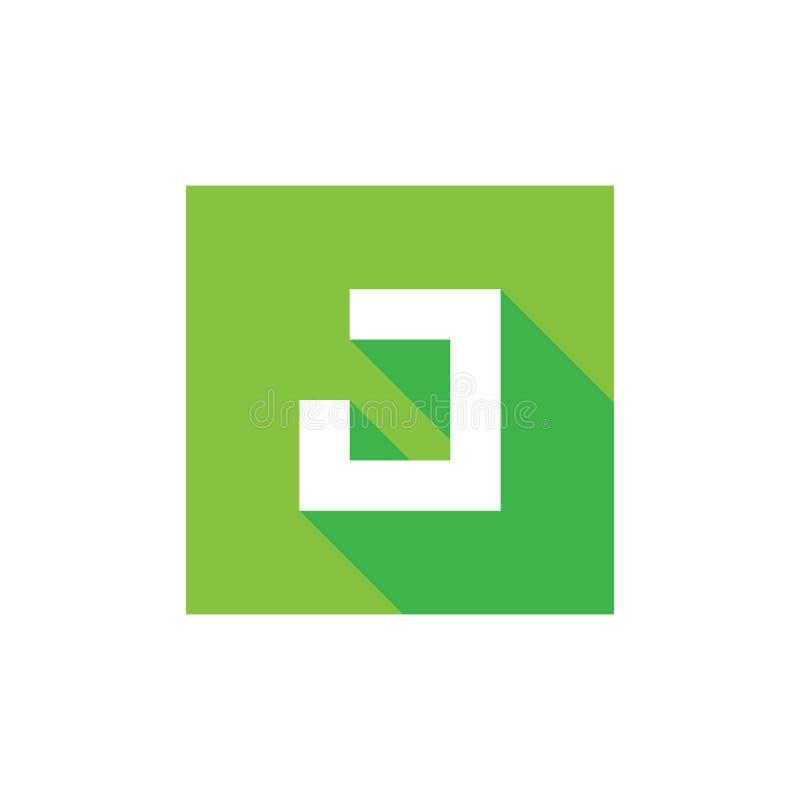 Letra inicial J Logo Icon Design, combinado con el cuadrado verde, diseño plano libre illustration