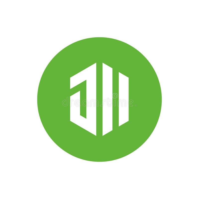 Letra inicial JII o diseño del ejemplo, del hexágono y del círculo de la forma del vector del color de JU Logo Icon, verde y blan stock de ilustración