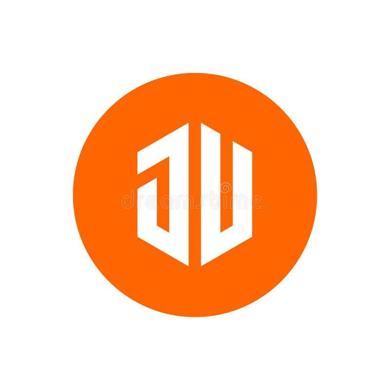Letra inicial JU Logo Icon do círculo, projeto alaranjado da ilustração de cor - vetor ilustração royalty free