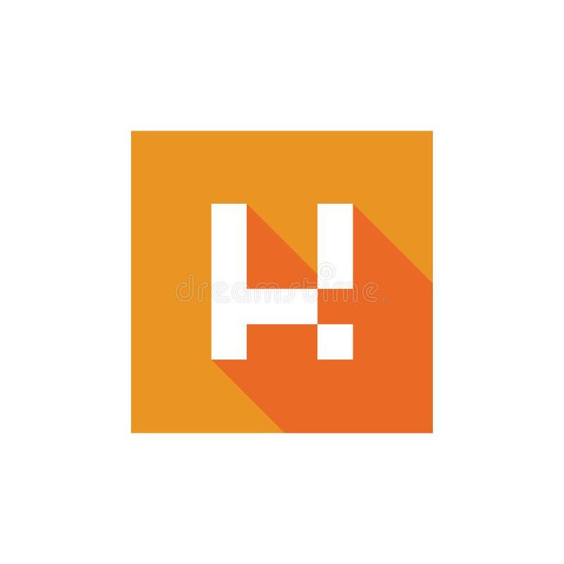 Letra inicial K Logo Icon Design, combinado con forma cuadrada anaranjada, icono largo de la sombra libre illustration
