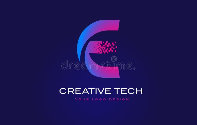 Letra inicial Logo Design de E com os pixéis de Digitas no roxo azul ilustração do vetor