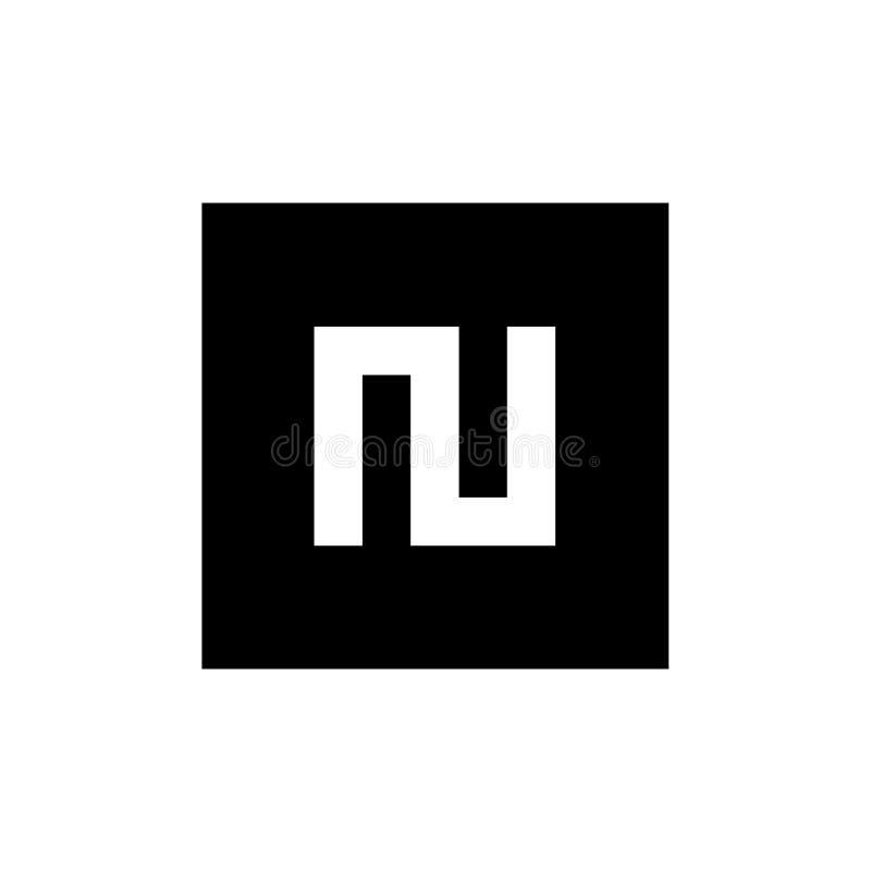Letra inicial N Logo Icon, combinado con forma cuadrada, logotipo blanco y negro del vector stock de ilustración