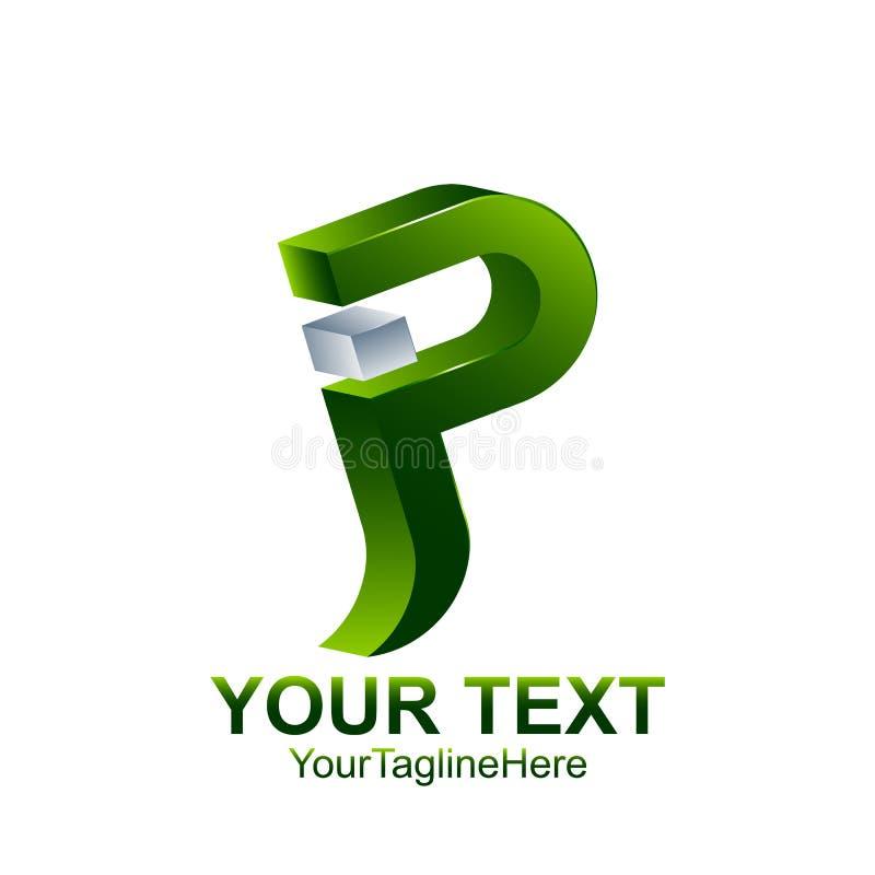 A letra inicial P ou do logotipo do JP molde coloriram o projeto verde de prata ilustração do vetor