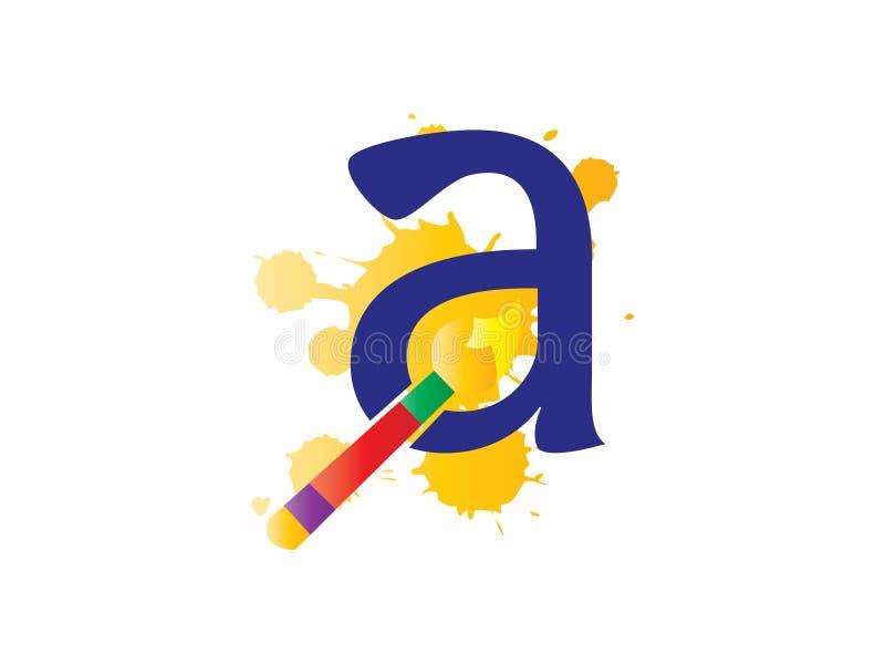 Letra inicial A para a tiragem e o lápis Logo Company ilustração stock