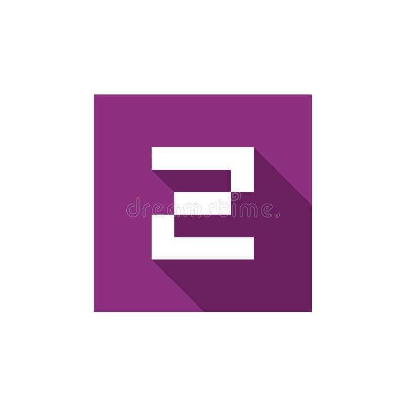 Letra inicial Z Logo Icon Design, combinado con el cuadrado púrpura, estilo largo plano de la sombra ilustración del vector