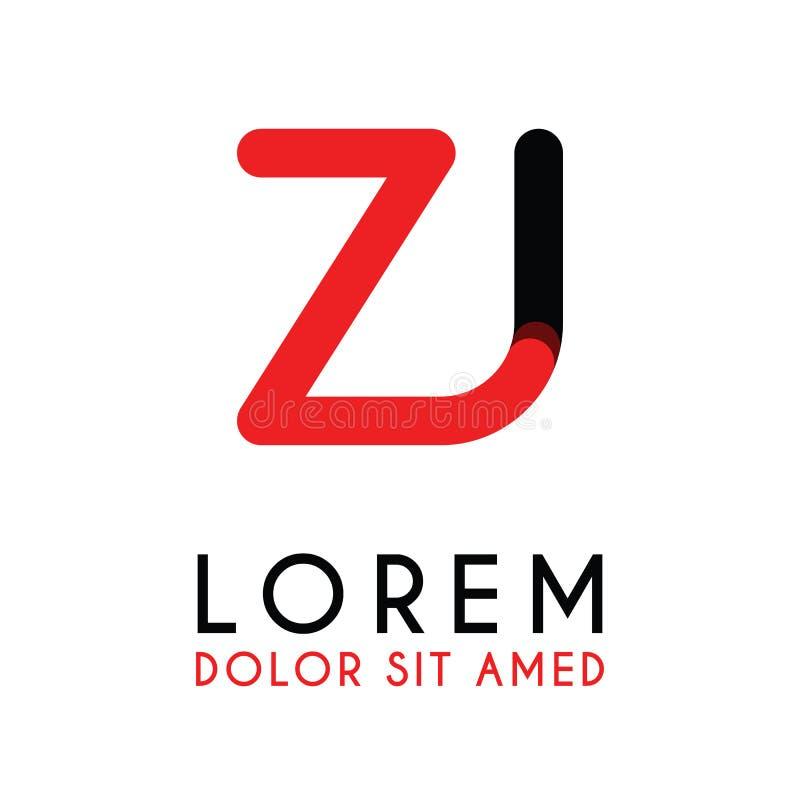 a letra inicial ZJ com preto vermelho e tem cantos arredondados ilustração royalty free