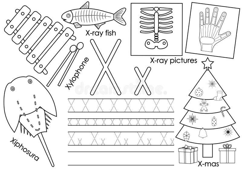Letra X Instrução para crianças Aprendendo o alfabeto inglês ilustração do vetor
