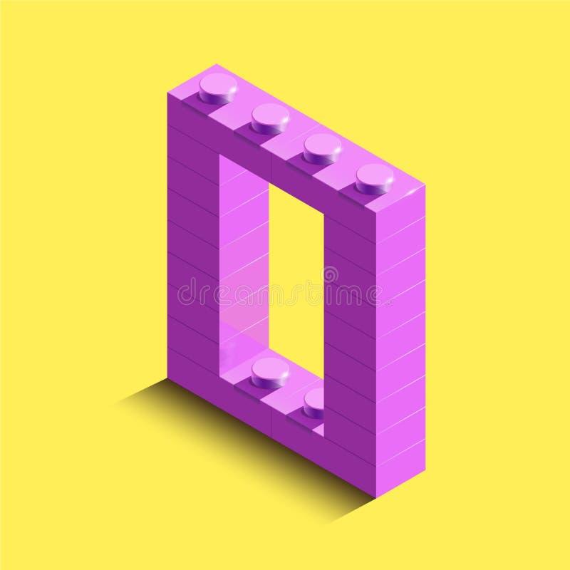 Letra isométrica realística O do rosa 3d do alfabeto dos tijolos do lego do construtor Letra 3d plástica isométrica cor-de-rosa d ilustração stock