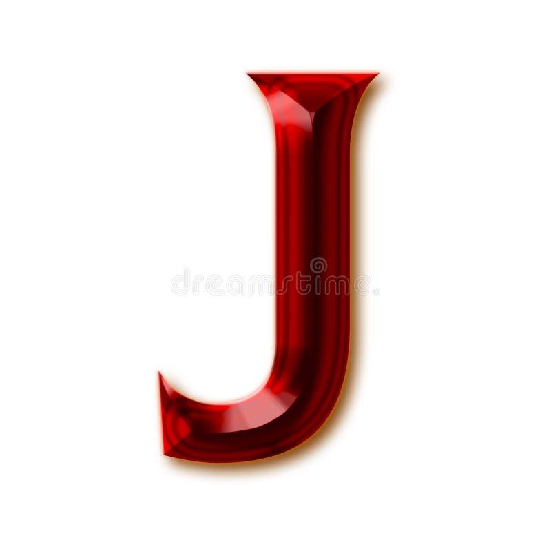 Letra J del alfabeto de rubíes tallado elegante ilustración del vector