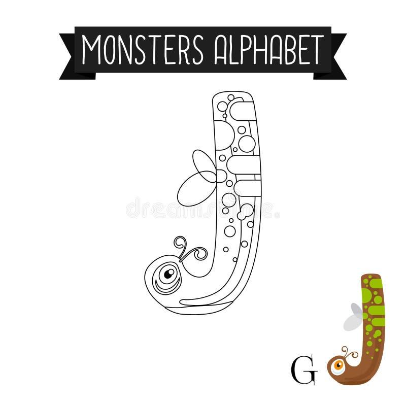 Letra J do alfabeto dos monstro da página da coloração ilustração royalty free