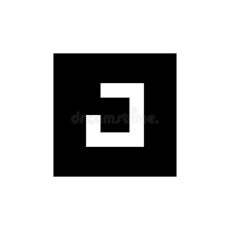 Letra J Logo Icon Design, combinado con forma cuadrada, ejemplo blanco y negro stock de ilustración