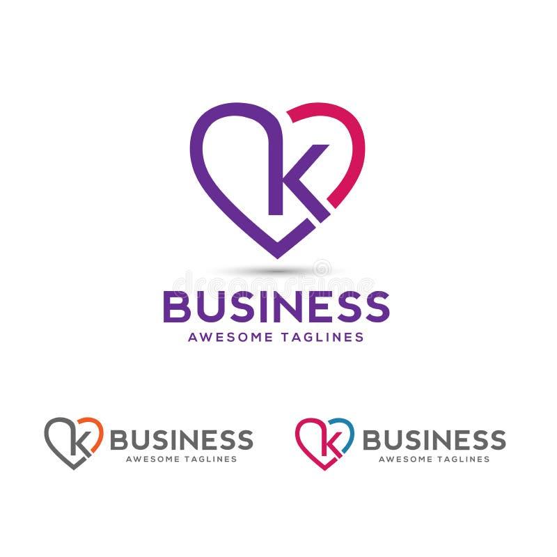A letra k com coração esboça o vetor do logotipo ilustração stock