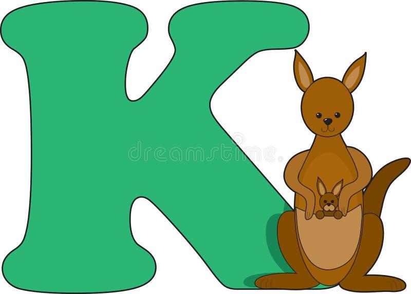 Letra K con un canguro ilustración del vector