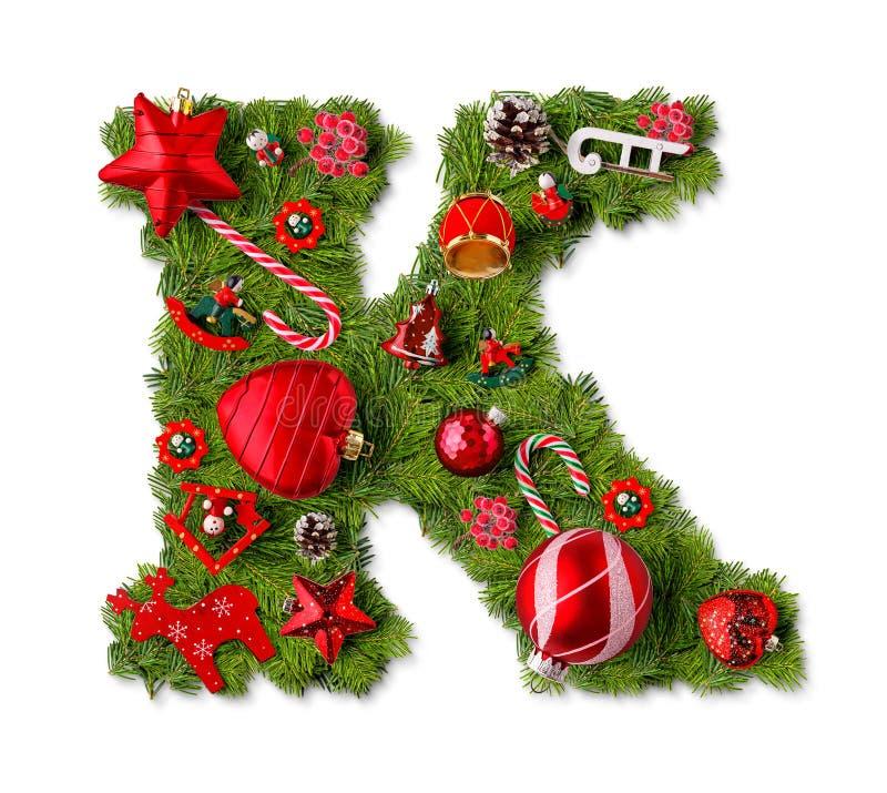 Letra K del alfabeto de la Navidad imágenes de archivo libres de regalías