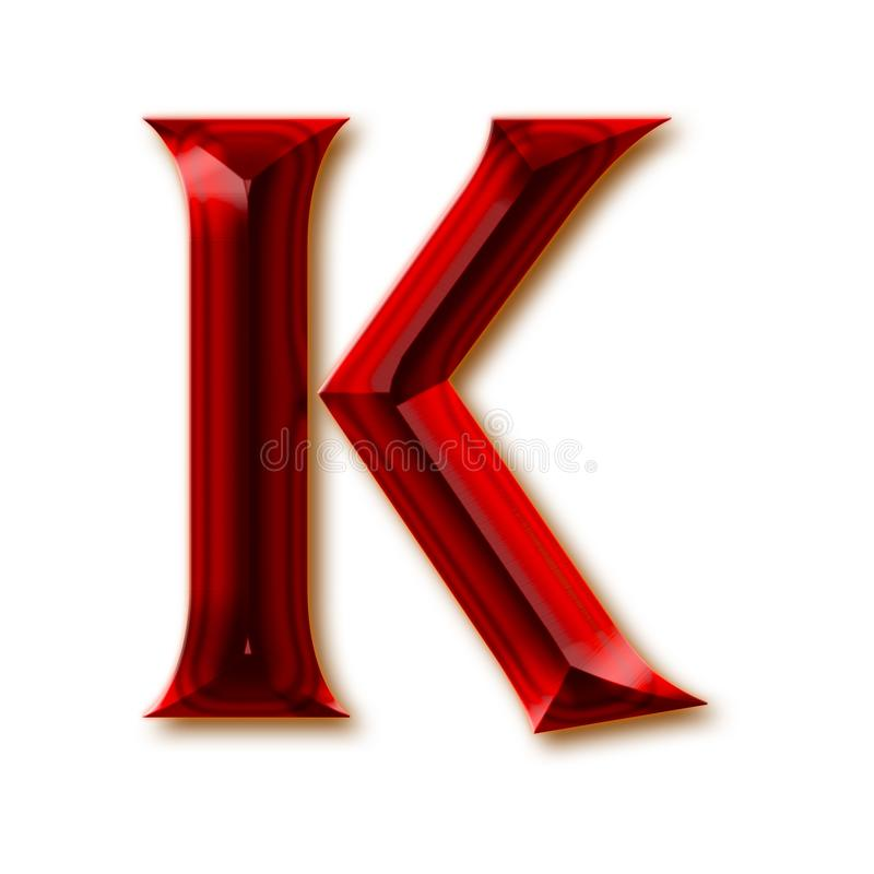 Letra K del alfabeto de rubíes tallado elegante libre illustration
