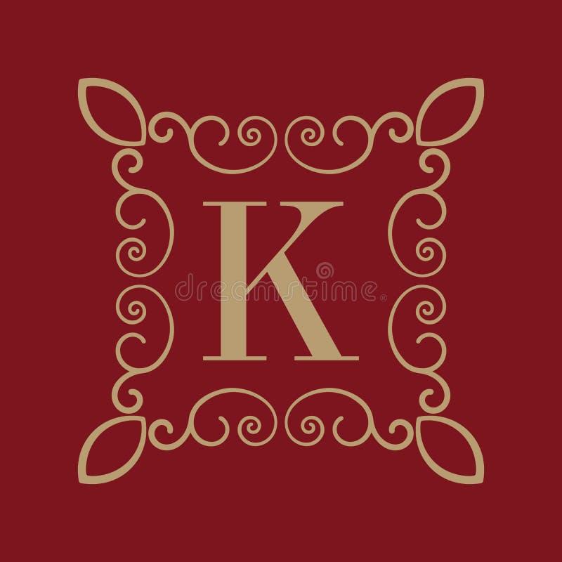 Letra K del monograma Ornamento caligráfico oro Conceptos retros, del negocio y del vintage Ilustración del vector ilustración del vector