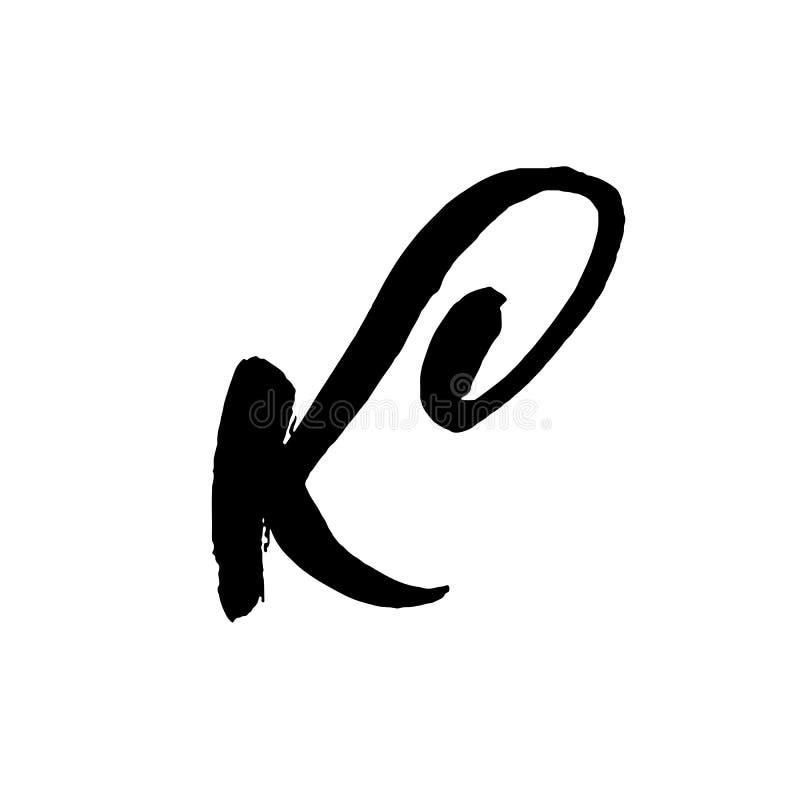 Letra K Manuscrito por el cepillo seco Los movimientos ásperos texturizaron la fuente Ilustración del vector Alfabeto del estilo  ilustración del vector