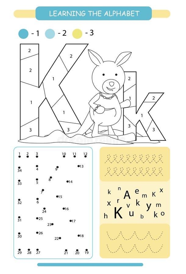 Letra K y canguro divertido de la historieta A-z del alfabeto de los animales P?gina que colorea Hoja de trabajo imprimible Pr?ct stock de ilustración