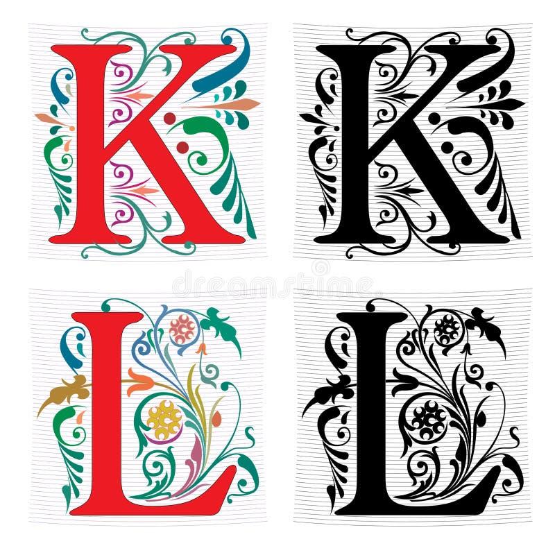 Letra K y L, color y monocromo ilustración del vector