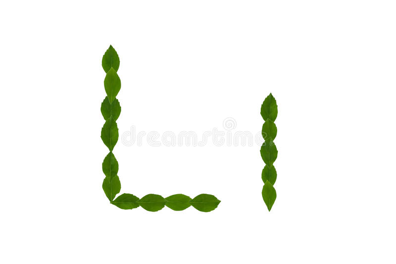 Letra L, Alfabeto Hecho De Las Hojas Verdes Imagen de archivo ...