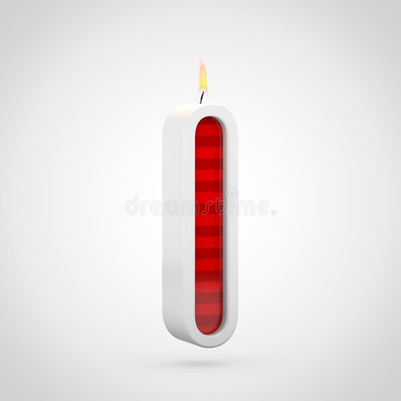 Letra L minúscula de la vela del cumpleaños aislada en el fondo blanco stock de ilustración