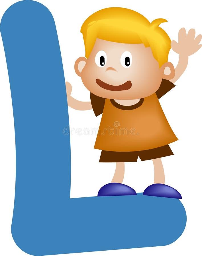 Letra L (muchacho) del alfabeto ilustración del vector