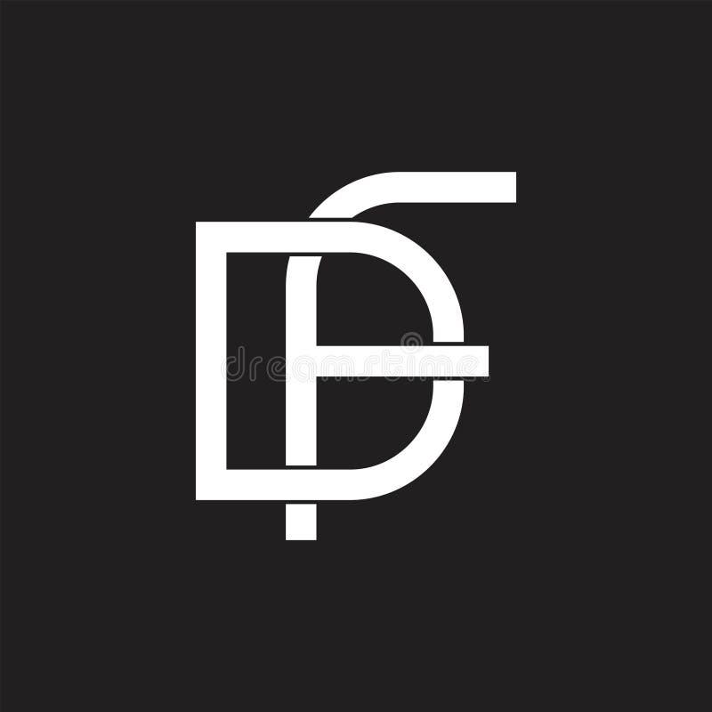 Letra las líneas ligadas simples vector del df del logotipo ilustración del vector