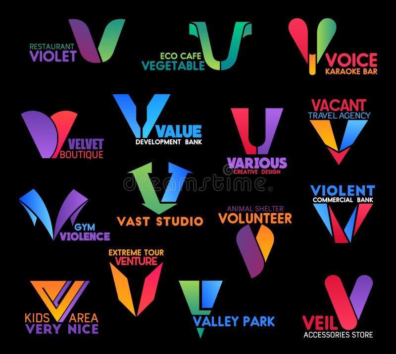 Letra las muestras abstractas y el icono del negocio de V aislados stock de ilustración