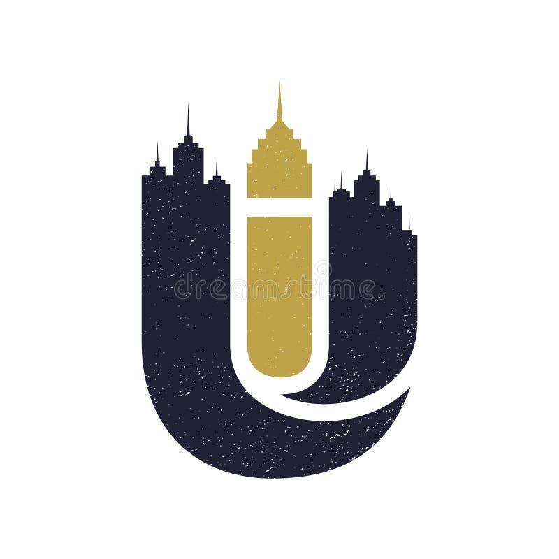 Letra las siluetas del edificio de la ciudad de U, horizontes urbanos ilustración del vector