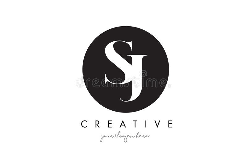 Letra Logo Design com círculo preto e Serif Font de SJ ilustração royalty free