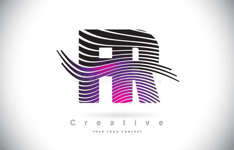 Letra Logo Design With Creative Lines del franco F.R. Zebra Texture y ilustración del vector