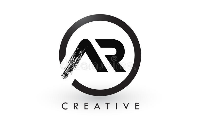 Letra Logo Design da escova da AR Logotipo escovado criativo do ícone das letras ilustração royalty free