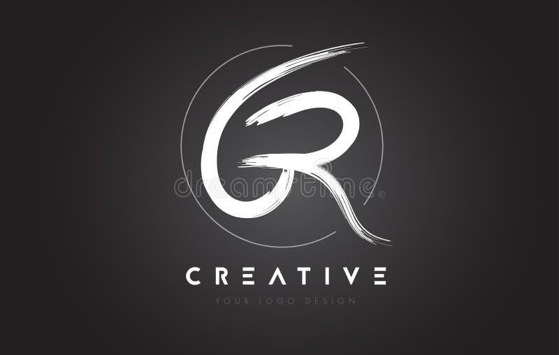 Letra Logo Design da escova da GR Logotipo escrito à mão artístico C das letras ilustração royalty free