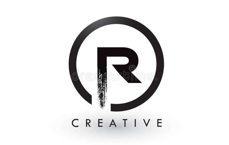 Letra Logo Design da escova de R Logotipo escovado criativo do ícone das letras ilustração royalty free