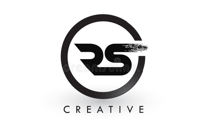 Letra Logo Design da escova de RS Logotipo escovado criativo do ícone das letras ilustração do vetor