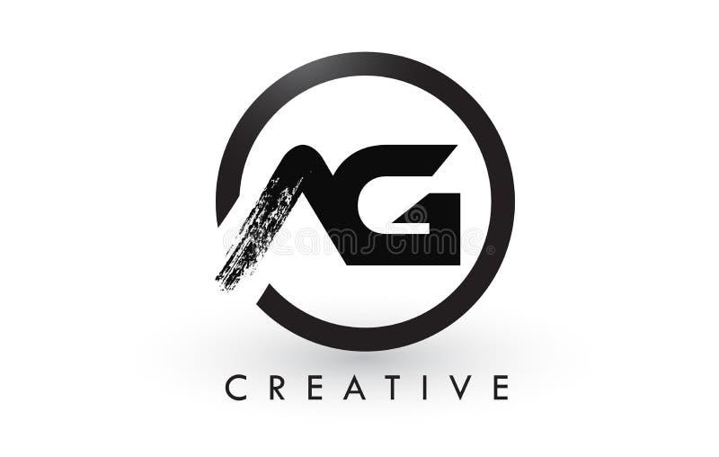 Letra Logo Design da escova do AG Logotipo escovado criativo do ícone das letras ilustração stock
