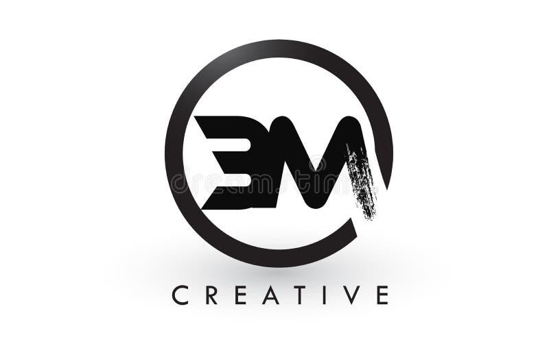 Letra Logo Design da escova do BM Logotipo escovado criativo do ícone das letras ilustração royalty free