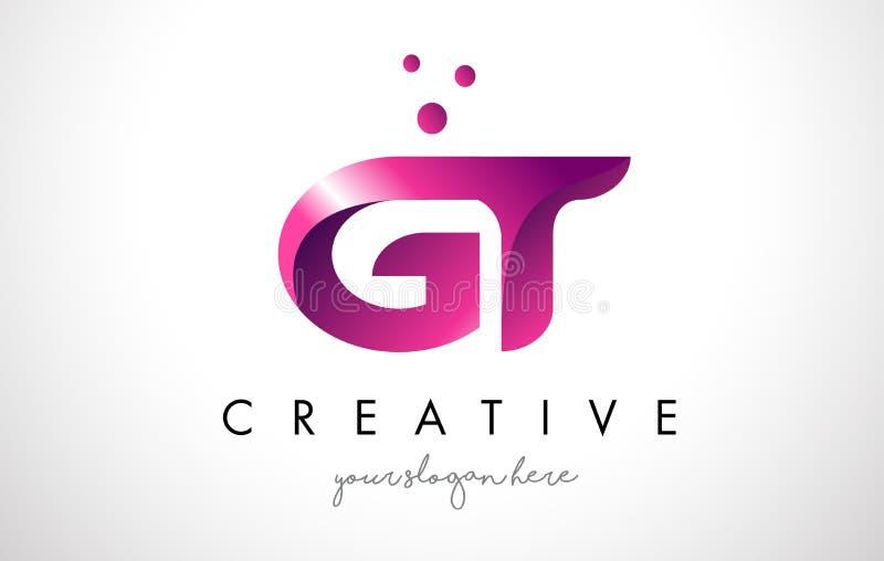 Letra Logo Design da GT com cores roxas e pontos ilustração do vetor