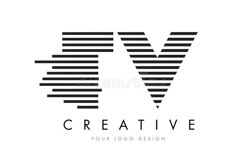 Letra Logo Design da zebra da tevê T V com listras preto e branco ilustração royalty free