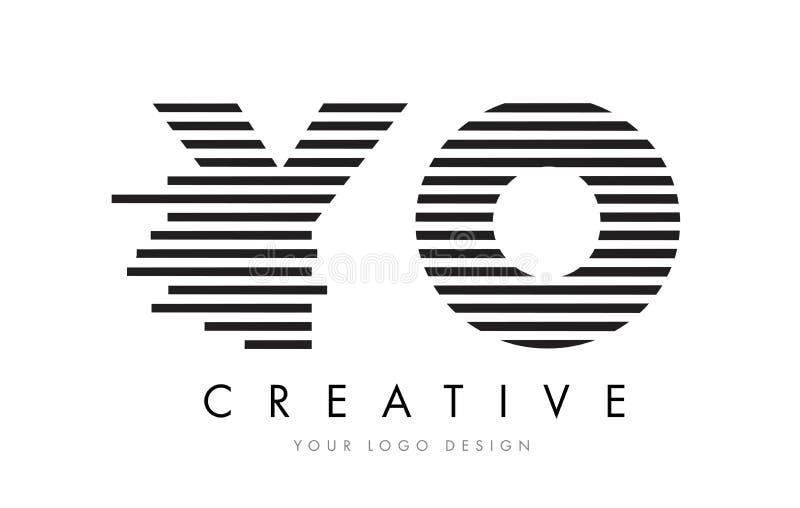 Letra Logo Design da zebra de YO Y O com listras preto e branco ilustração stock
