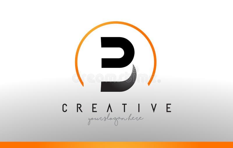 Letra Logo Design de B com cor alaranjada preta Ícone moderno fresco T ilustração royalty free