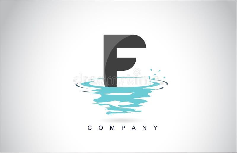 Letra Logo Design de F com reflexão das gotas das ondinhas do respingo da água ilustração do vetor
