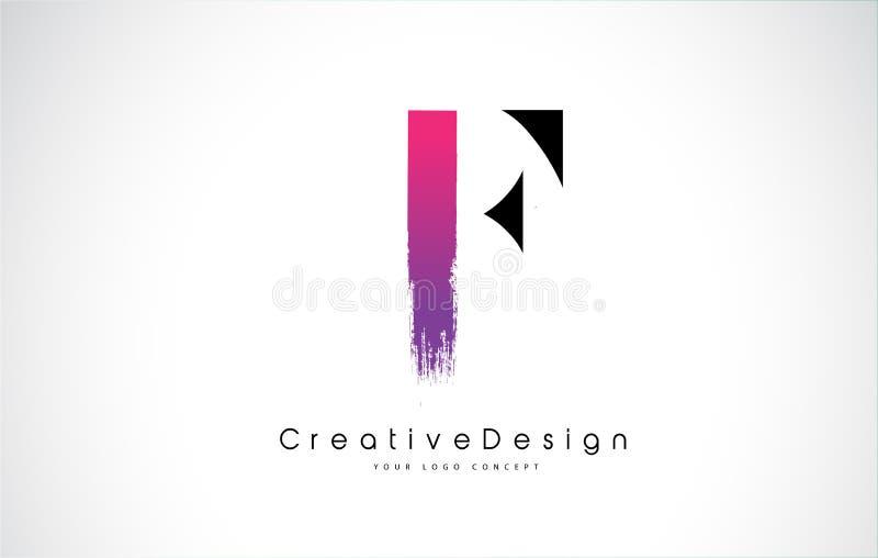 Letra Logo Design de F con el movimiento púrpura rosado creativo del cepillo stock de ilustración