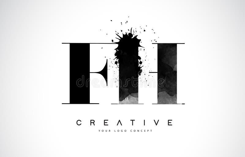 Letra Logo Design de FH F H con derramamiento negro del chapoteo de la acuarela de la tinta stock de ilustración