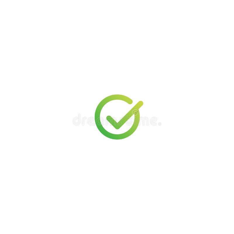Letra Logo Design de G ejemplo aceptable del icono del vector del símbolo de la marca de verificación stock de ilustración