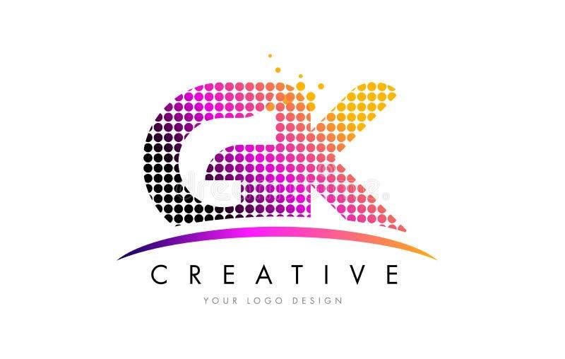Letra Logo Design de GK G K com pontos magentas e Swoosh ilustração stock