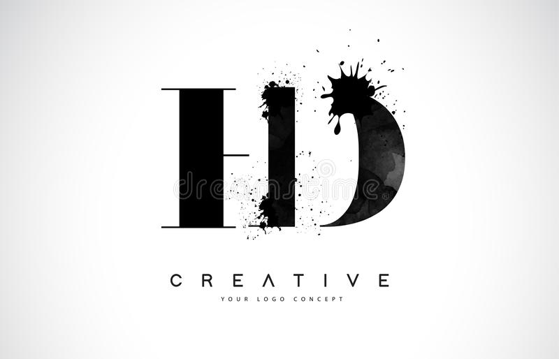 Letra Logo Design de HD H D con derramamiento negro del chapoteo de la acuarela de la tinta stock de ilustración