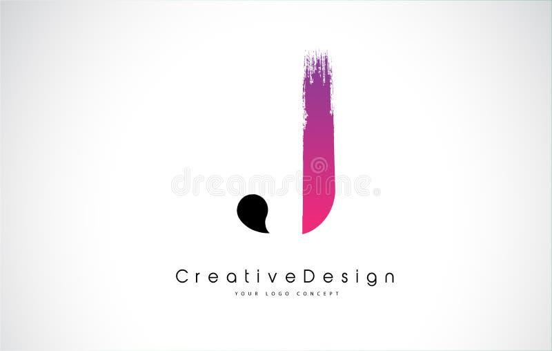 Letra Logo Design de J con el movimiento púrpura rosado creativo del cepillo ilustración del vector