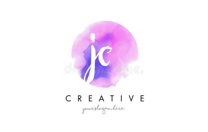 Letra Logo Design de la acuarela de JC con el movimiento púrpura del cepillo ilustración del vector